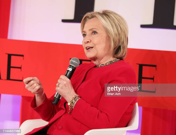 Hillary Clinton participates in a panel discussion during the TIME 100 Summit 2019 on April 23 2019 in New York City