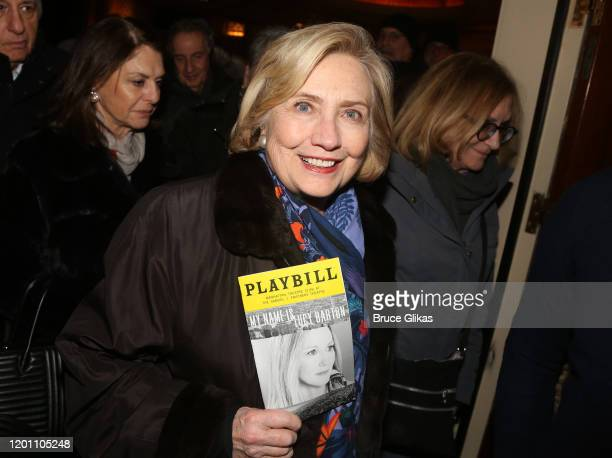 """Hillary Clinton poses at the hit Manhattan Theatre Club play """"My Name is Lucy Barton""""on Broadway at The Samuel J Friedman Theatre on January 21, 2020..."""