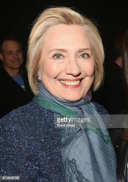Hillary Clinton poses backstage at the hit musical Dear Evan Hansen on Broadway at The Music Box Theatre on November 15 2017 in New York City