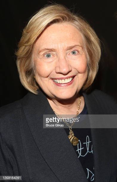 """Hillary Clinton poses backstage at the hit musical """"TINA – The Tina Turner Musical"""" on Broadway at The Lunt Fontanne Theatre on January 30, 2020 in..."""