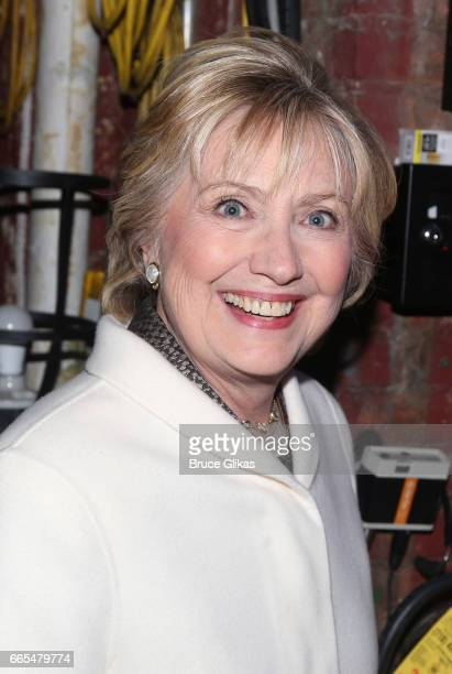Hillary Clinton poses backstage at the opening night performance of the new musical 'War Paint' on Broadway at The Nederlander Theatre on April 6...