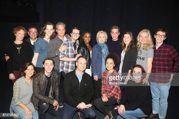 Hillary Clinton poses with Ben Platt and the cast at the hit musical Dear Evan Hansen on Broadway at The Music Box Theatre on November 15 2017 in New...