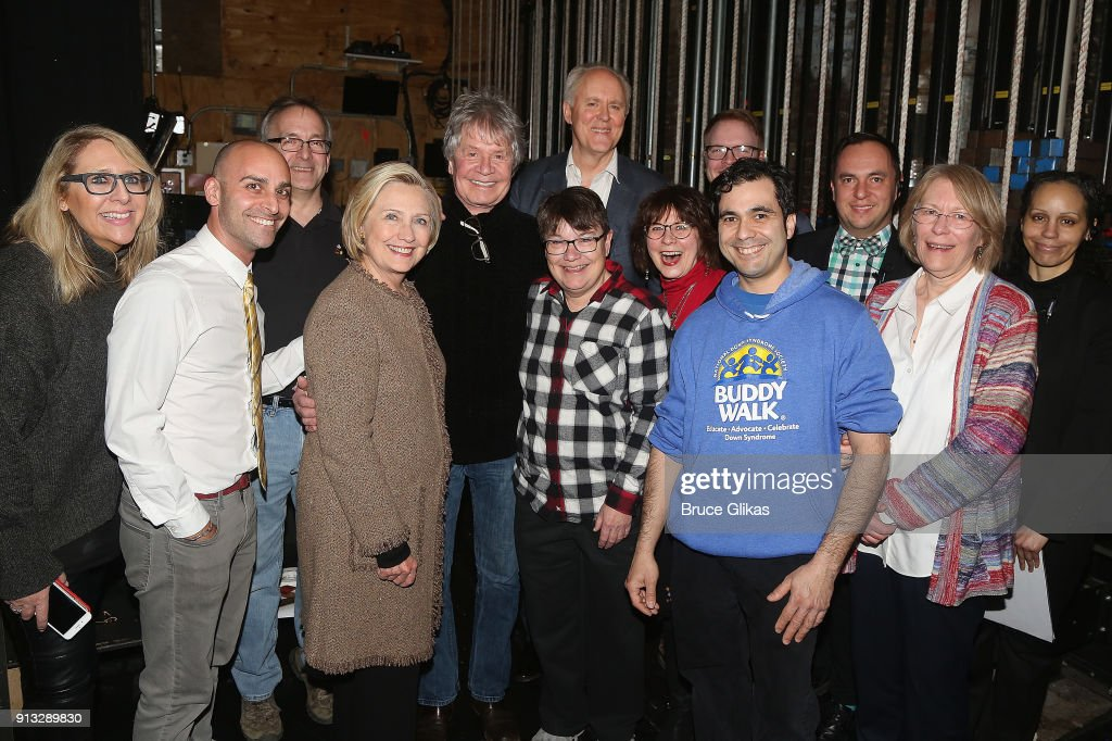 Hillary Clinton poses with John Lithgow and the company backstage at the Roundabout Theatre Company's hit production of 'John Lithgow: Stories By Heart' on Broadway at The American Airlines Theatre on February 1, 2018 in New York City.