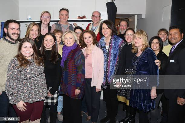 Hillary Clinton poses with the cast and crew backstage at the Manhattan Theatre Club's The Children on Broadway at The Samuel J Friedman Theater on...