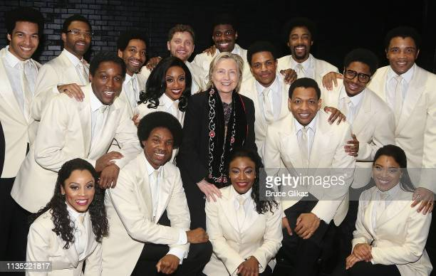 """Hillary Clinton poses with the cast backstage at the hit musical """"Ain't Too Proud To Beg"""" on Broadway at The Imperial Theatre on April 5, 2019 in New..."""