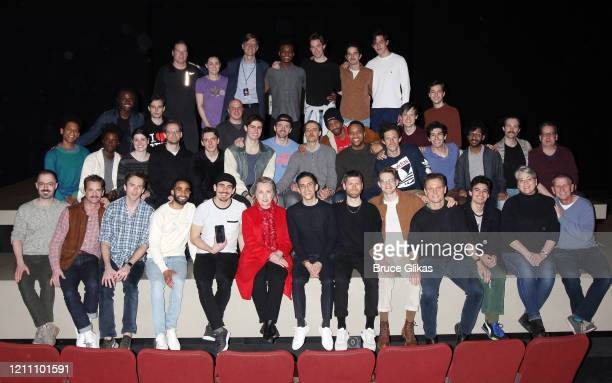 """Hillary Clinton poses with the company and creative team backstage at the play """"The Inheritance"""" on Broadway at The Barrymore Theatre on March 7,..."""