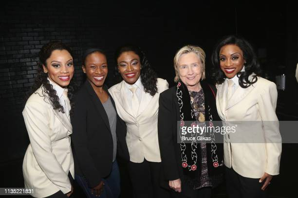 """Hillary Clinton poses with the female ensemble backstage at the hit musical """"Ain't Too Proud To Beg"""" on Broadway at The Imperial Theatre on April 5,..."""