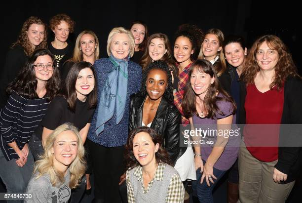 Hillary Clinton poses with the woman of the producton at the hit musical 'Dear Evan Hansen' on Broadway at The Music Box Theatre on November 15 2017...