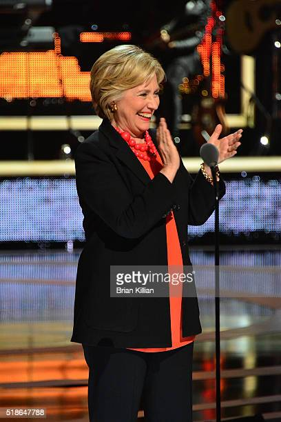 Hillary Clinton presents an award during the Black Girls Rock 2016 show at New Jersey Performing Arts Center on April 1 2016 in Newark New Jersey
