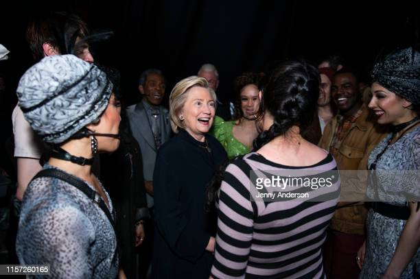 """Hillary Clinton, Rachel Chavkin and the cast of """"Hadestown"""" backstage at the Walter Kerr Theatre on June 20, 2019 in New York City."""