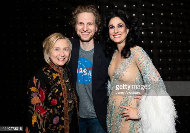 """Hillary Clinton, Sebastian Arcelus and Stephanie J. Block are seen backstage at """"The Cher Show"""" on Broadway at the Neil Simon Theatre on April 3,..."""