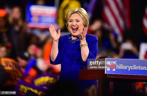 Hillary Clinton speaks at PostSuper Tuesday Rally at The Jacob K Javits Convention Center on March 2 2016 in New York City
