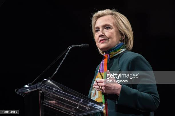 Hillary Clinton speaks at the 14th Annual PEN World Voices Festival at The Great Hall at Cooper Union on April 22 2018 in New York City