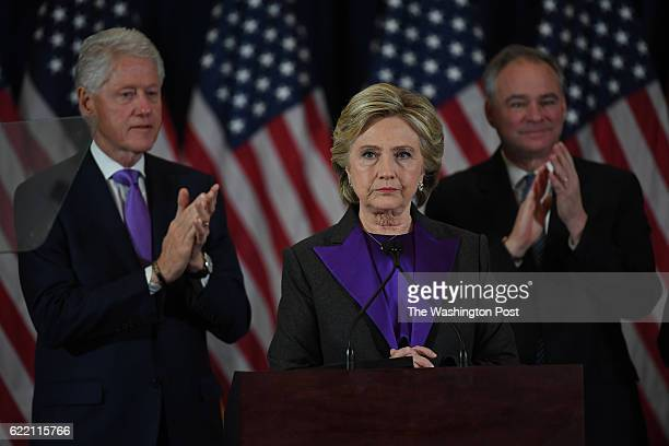 Hillary Clinton speaks during a press conference at the Wyndham New Yorker Hotel the day after the election on Wednesday November 9, 2016 in New York...