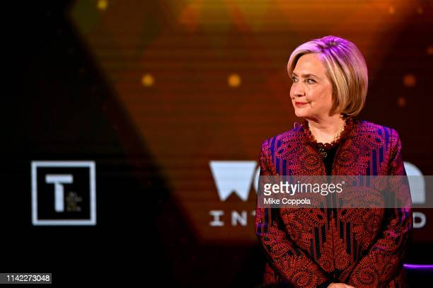 Hillary Clinton speaks during the 10th Anniversary Women In The World Summit at David H. Koch Theater at Lincoln Center on April 12, 2019 in New York...