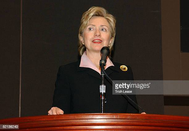 Hillary Clinton speaks during the Amba Project Benefit For Tsunami Relief during Olympus Fashion Week at Christie's February 4 2005 in New York City