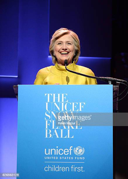 Hillary Clinton speaks on stage during the 12th annual UNICEF Snowflake Ball at Cipriani Wall Street on November 29 2016 in New York City
