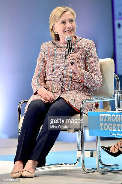 Hillary Clinton speaks onstage as Beautycon Media curates the first digital content creator town hall with Hillary Clinton at NeueHouse Los Angeles...