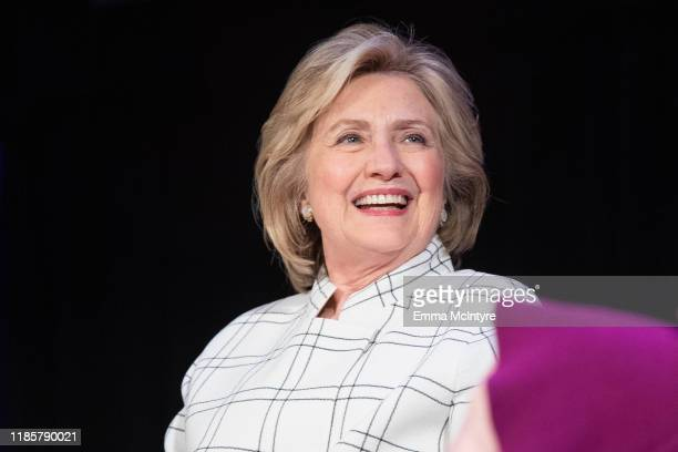 Hillary Clinton speaks onstage at 'Hillary Clinton and Chelsea Clinton discuss their new book 'The Book of Gutsy Women' at The Wilshire Ebell Theatre...