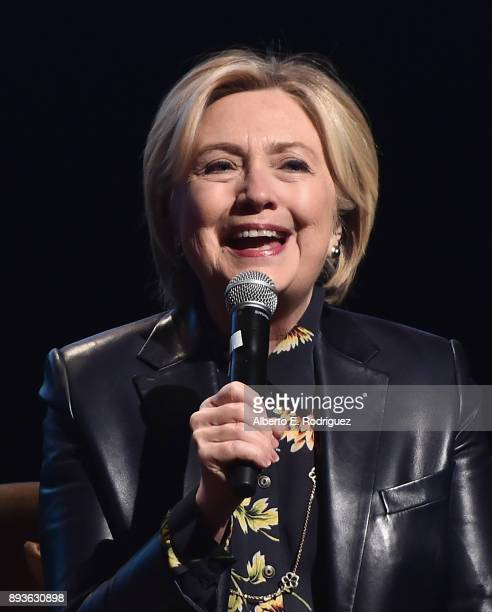 Hillary Clinton speaks onstage at LA Promise Fund's 'Girls Build Leadership Summit' at Los Angeles Convention Center on December 15 2017 in Los...