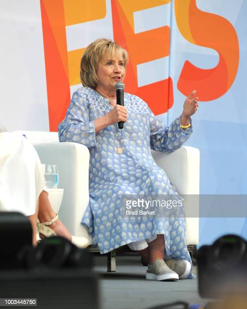 Hillary Clinton speaks onstage during OZY Fest 2018 at Rumsey Playfield Central Park on July 21 2018 in New York City