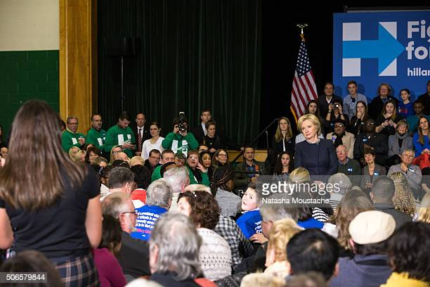 Hillary Clinton speaks with supporters at Hillside Middle School on January 22 2016 in Manchester New Hampshire