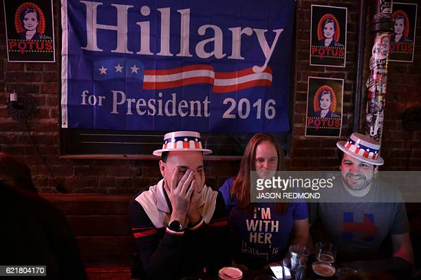 TOPSHOT Hillary Clinton supporters gather to watch television coverage of the US presidential election at the Comet Tavern in Seattle Washington on...