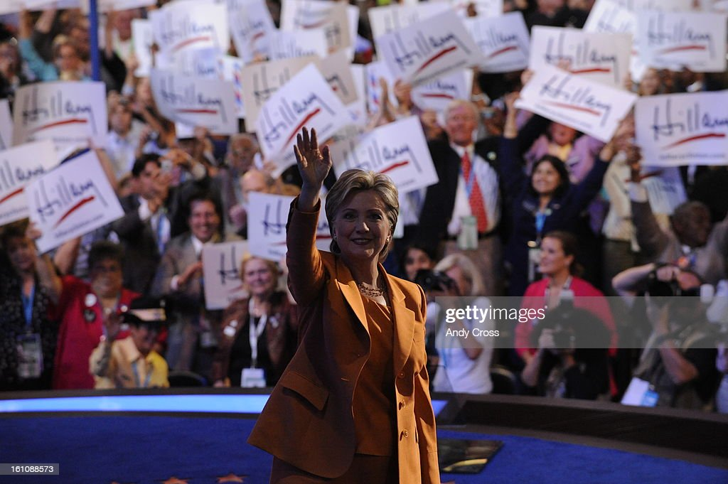 Hillary Clinton takes the podium of the Pepsi Center during the second day of the Democratic National Convention on Tuesday, August 26, 2008 in Denver, Colo. (Andy Cross / The Denver Post) : News Photo