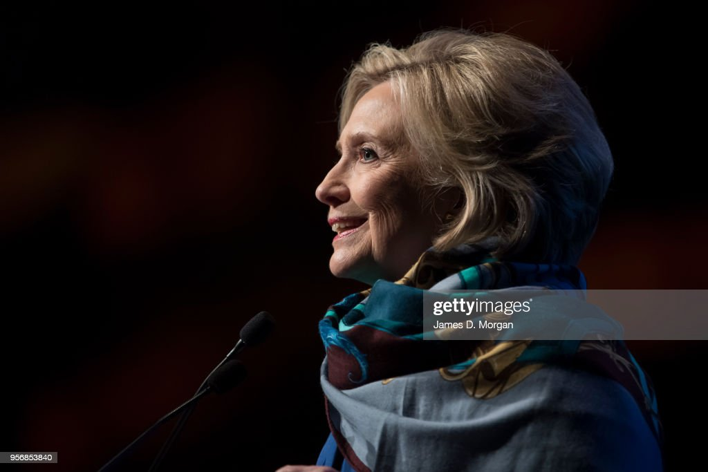 Hillary Clinton talks during An Evening With Hillary Rodham Clinton at The Melbourne Convention and Exhibition Centre on May 10, 2018 in Melbourne, Australia. The former US Secretary of State and Democratic presidential candidate, who lost the 2016 US election to Donald Trump, is touring Australia and New Zealand speaking about being a woman in politics.