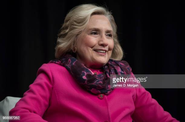 Hillary Clinton talks on stage during An Evening with Hillary Rodham Clinton at Spark Arena on May 7 2018 in Auckland New Zealand The former US...
