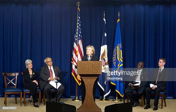 Hillary Clinton US secretary of state speaks during a news conference highlighting the efforts of the Obama Administration on HIV/AIDS issues in...