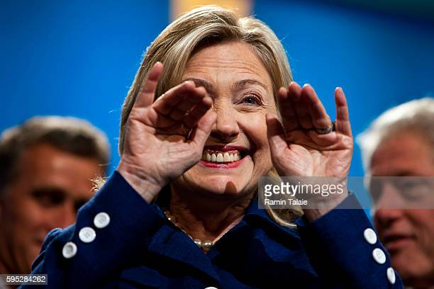 Hillary Clinton US Secretary of State waves to member of audience during the annual Clinton Global Initiative meeting in New York on Tuesday...
