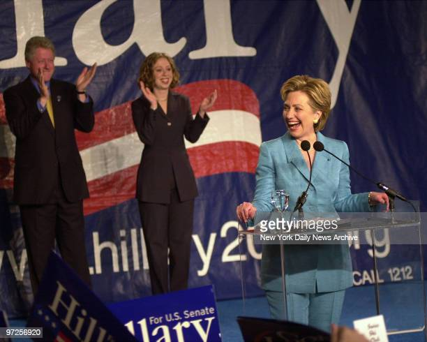 Hillary Clinton victory celebration at the Grand Hyatt Hotel Behind her is husband Bill Clinton and daughter Chelsea