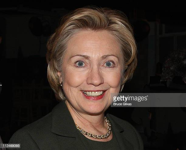 """Hillary Clinton visits backstage at Elton John's new Broadway musical """"Billy Elliot"""" at The Imperial Theater on November 29, 2008 in New York City."""