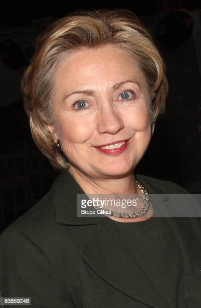 """Hillary Clinton visits backstage at Elton John's New Musical """"Billy Elliott"""" on Broadway at The Imperial Theater on November 29, 2008 in New York..."""