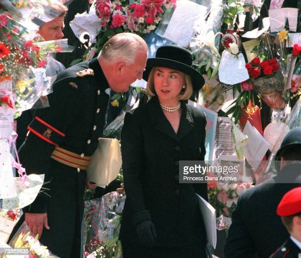 Hillary Clinton wife of American President Bill Clinton leaving Westminster Abbey after the funeral service for Diana Princess of Wales 6th September...