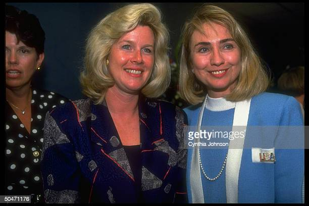 Hillary Clinton wife of Democratic presidential candidate Bill Clinton with Tipper Gore wife of Clinton running mate Sen Al Gore at Arkansas...