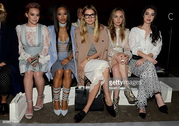 Hillary Duff Serayah McNeill Jessica Hart Zella Day and Adelaide Kane attend Zimmermann Fall 2016 Runway Show at Art Beam on February 12 2016 in New...