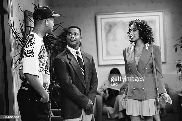 AIR Hillary Gets a Job Episode 4 Pictured Will Smith as William 'Will' Smith Alfonso Ribeiro as Carlton Banks Karyn Parsons as Hilary Banks Photo by...
