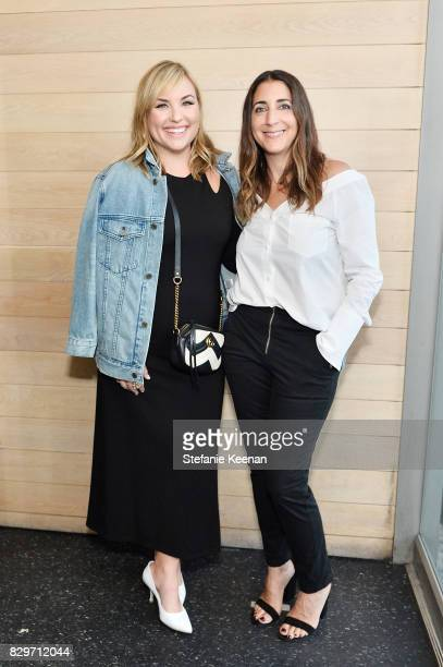 Hillary Kerr and Andrea Lieberman attend INTERMIX x ALC 'On Duty' Launch Dinner with Chrissy Teigen at Jon and Vinny's on August 10 2017 in Los...