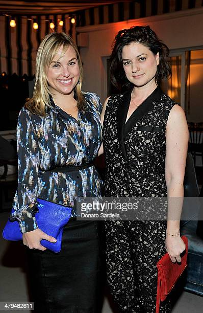 Hillary Kerr and Ilaria Urbinati attend Eva Mendes Exclusively at New York Company Spring launch dinner at Chateau Marmont on March 18 2014 in Los...