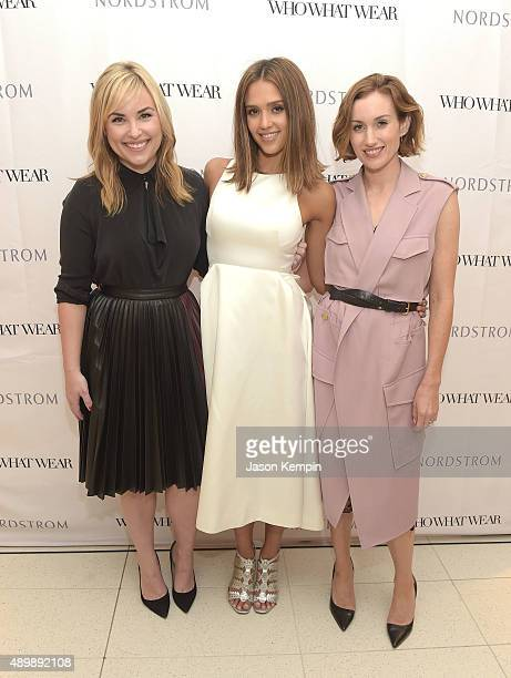 Hillary Kerr Jessica Alba and Katherine Power attend the Who What Wear and Nordstrom Trunk Show at The Grove on September 24 2015 in Los Angeles...