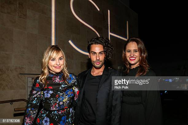 Hillary Kerr Joey Maalouf and a guest attend the FabFitFun and Joey Maalouf's ISH Launch Party at Above SIXTY Beverly Hills on March 3 2016 in...