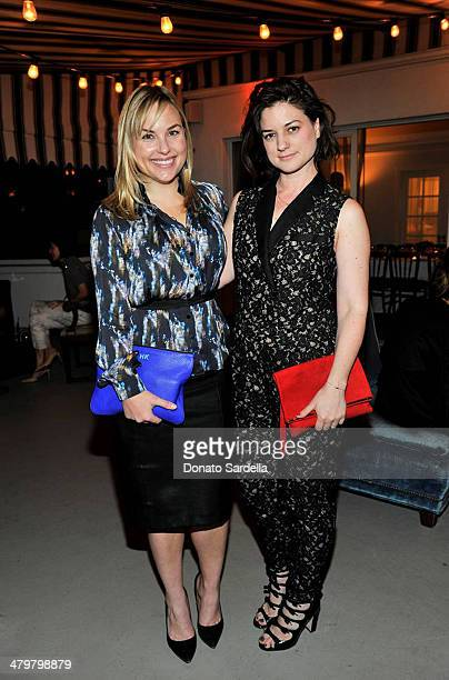 Hillary Kerr of Who what wear and stylist Ilaria Urbinati attend Eva Mendes Exclusively At New York Company Spring Launch Dinners at Chateau Marmot...