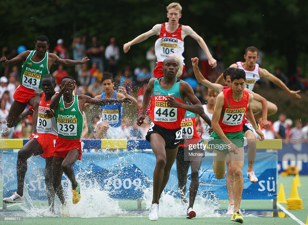 Hillary Kipsang Yego (#446) of Kenya on his way to gold in the boy's 2000m steeplechase final during day five of the Iaaf World Youth Championships at the Bressanone Sports Complex on July 12, 2009 in Brixone Bressanone, Italy.