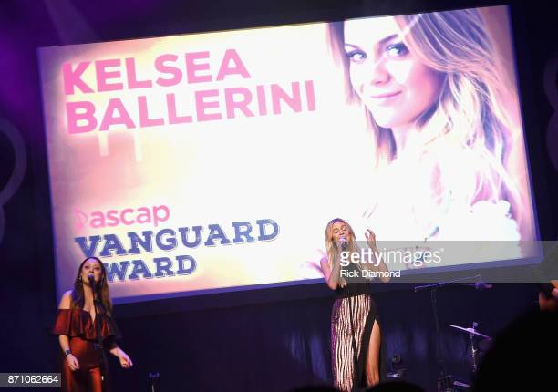 Hillary Lindsey and Kelsea Ballerini perform onstage during the 55th annual ASCAP Country Music awards at the Ryman Auditorium on November 6 2017 in...
