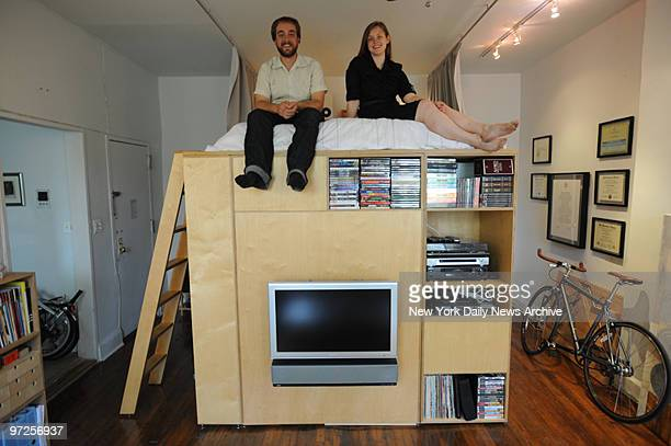 Hillary Padget and Anthony Harrington in their small apartment with the loft studio that they designed on Lafayette ave in Fort Greene Brooklyn They...