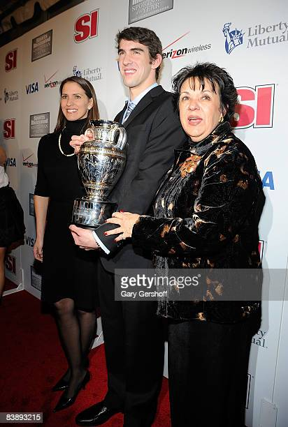 Hillary Phelps, sister of Michael Phelps, Olympic Gold Medalist Michael Phelps, and Debbie Phelps, mother of Michael, attend the 2008 Sports...
