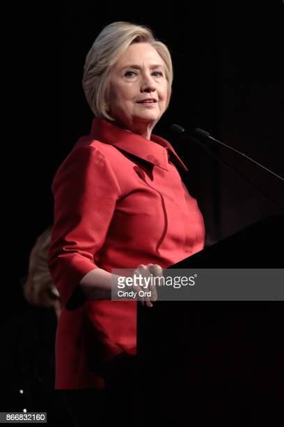 Hillary Rodham Clinton accepts the WMC Wonder Woman Award onstage at the Women's Media Center 2017 Women's Media Awards at Capitale on October 26...