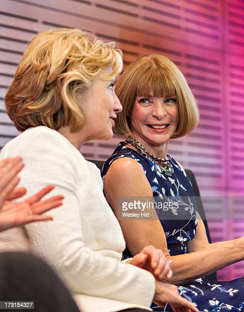 Hillary Rodham Clinton and Anna Wintour attend the Oscar de la Renta American Icon reception at the William J Clinton Presidential Center on July 08...